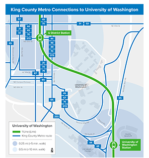 Map of Metro King County's connections to the University of Washington Link station