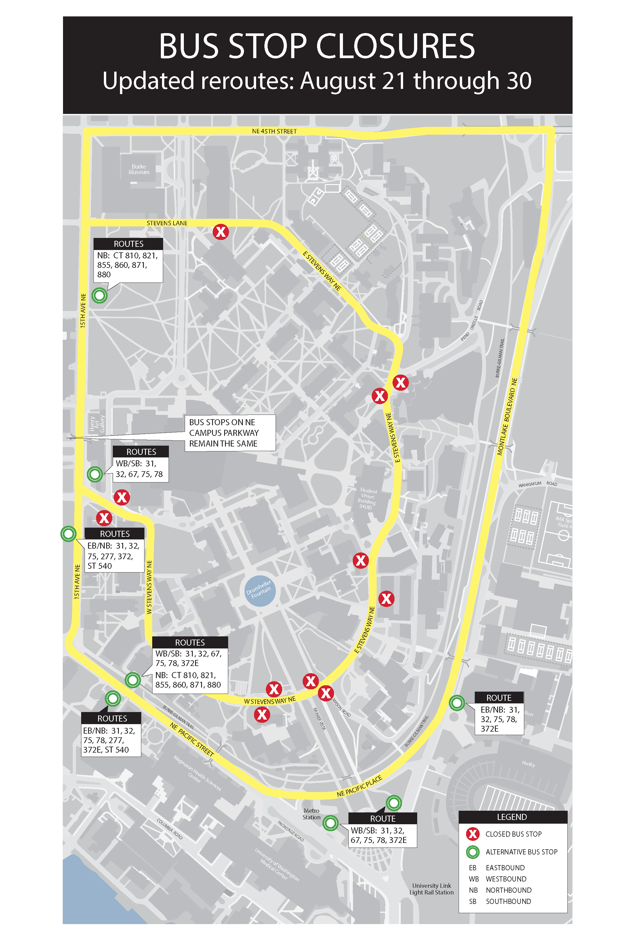 Metro bus reroute map showing bus stop closures
