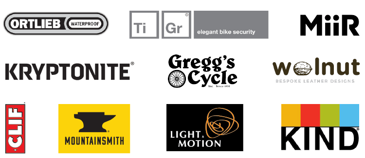 sponsor logos - walnut, Ti Gr, Gregg's Cycle, pdw, kryptonite, MiiR, KIND, mountainsmith
