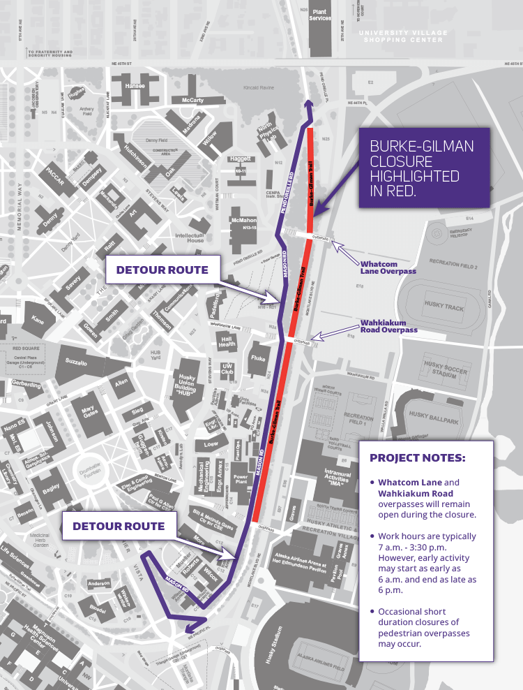 uw campus map showing segment of burke-gilman trail closure