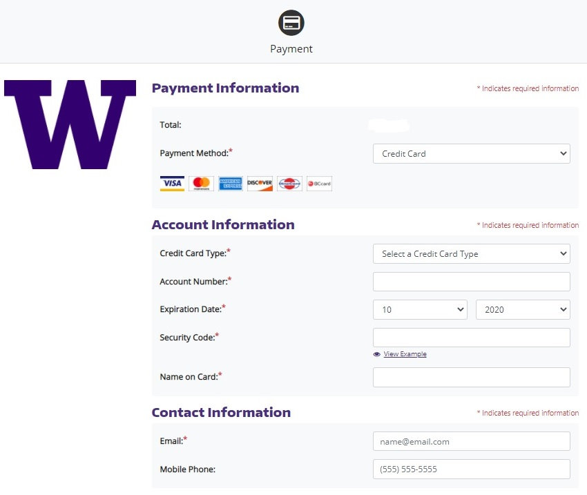 screenshot of of payment information screen with credit card information fields; return policy with acknowledgment statement check box highlighted with arrow pointing to it, above a Cancel button and Continue button