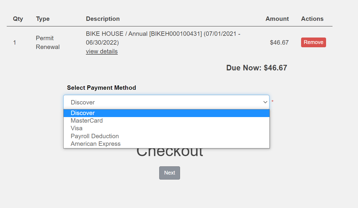 screenshot of select payment method dropdown showing credit card options and payroll deduction along with a total due now and next button