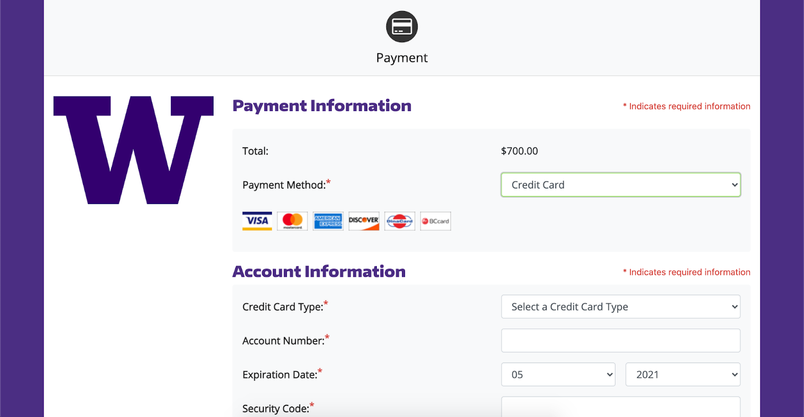 screenshot of payment information screen showing the payment method and related required information