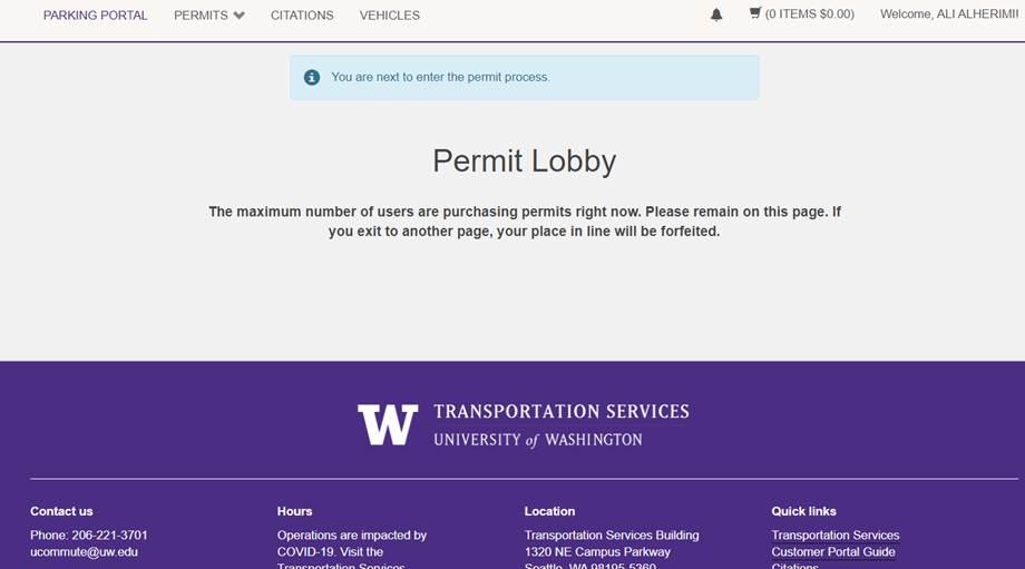 screenshot of Transportation Services online customer portal permit lobby