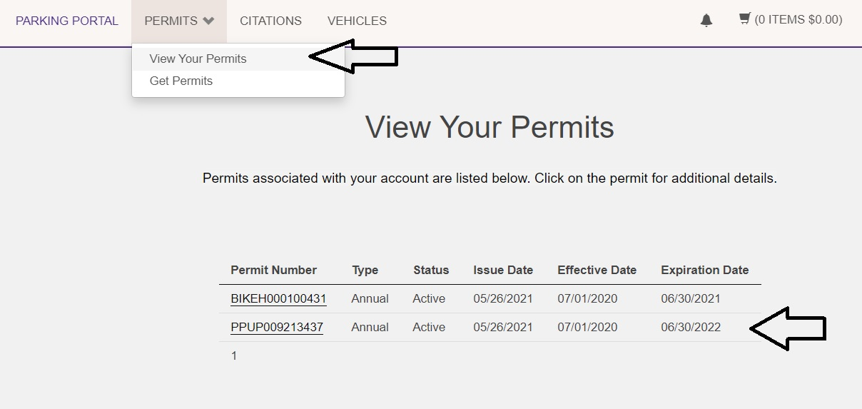 screen shot of the View Your Permits screen showing the navigation option under the Permits navigation item of View Your Permits