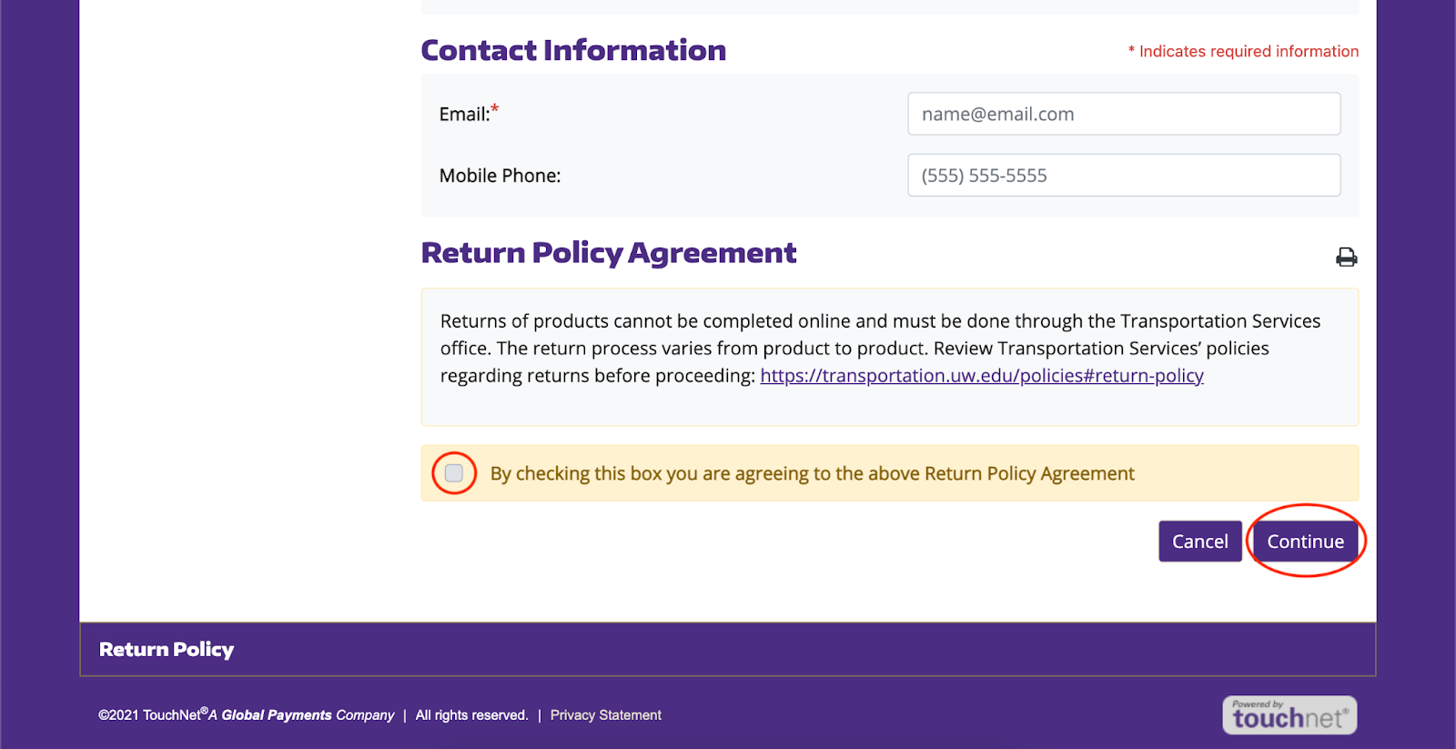 screenshot of return policy confirmation screen with checkbox for acknowledgement of the return policy circled in red