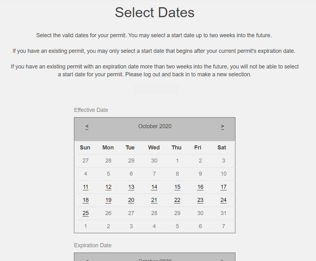 screenshot of calendar for date selection of product effective date