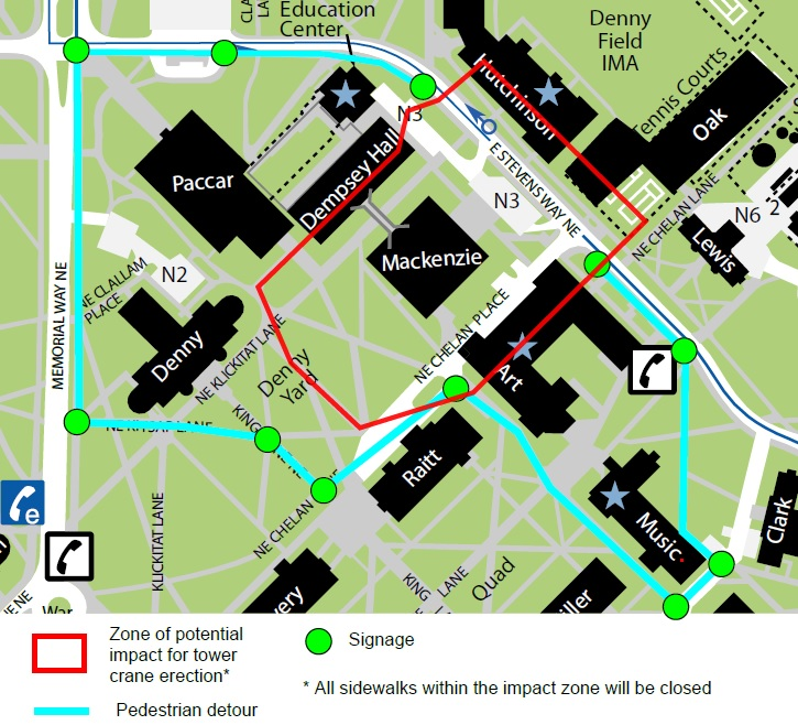 Pedestrian detour to avoid closure on Stevens Way from Dempsey hall to Art building for tower crane installation.