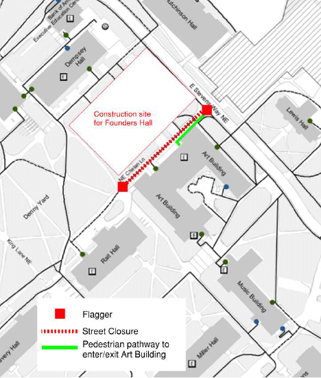 map showing chelan lane street closure with pedestrian access to the art building provided