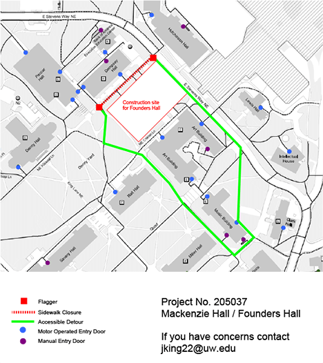 klickitat lane closure showing pedestrian access around the site and around the perimeter of the art building