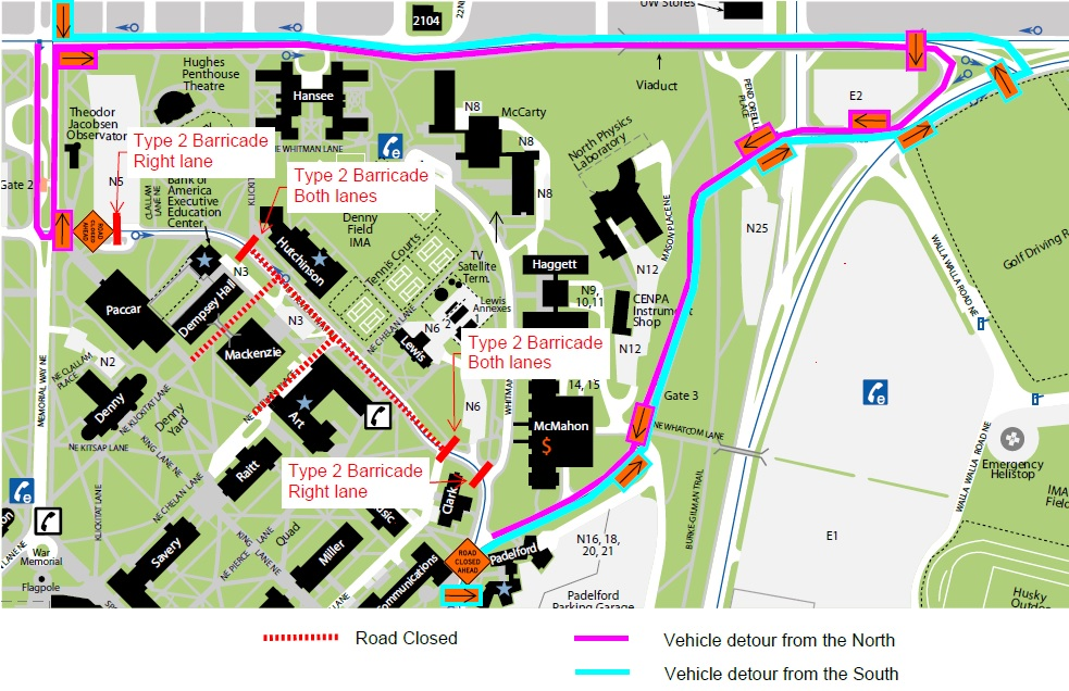 Vehicle detour to avoid closure on Stevens Way from Dempsey hall to Music hall for tower crane installation.