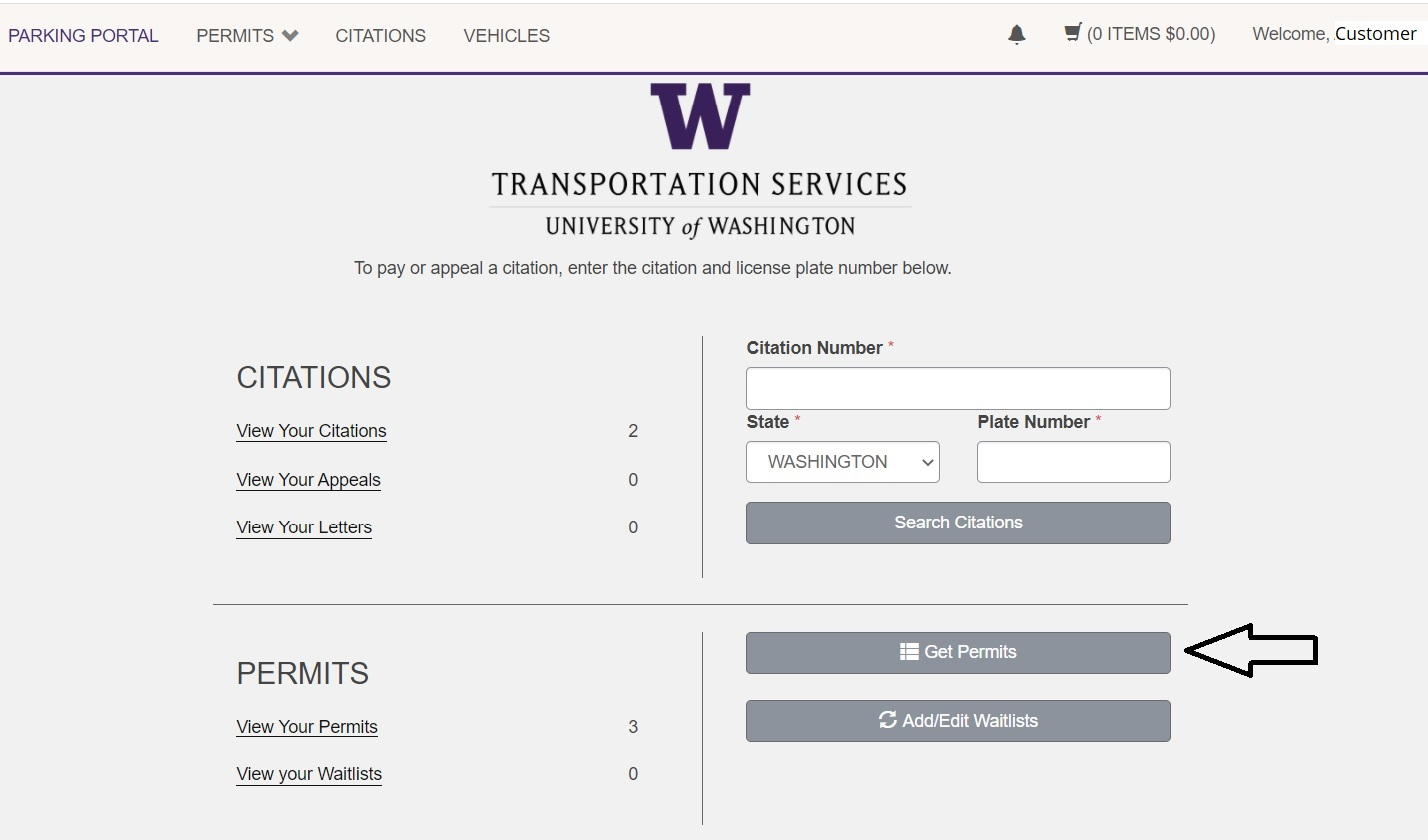 screenshot of Transportation Services online customer portal Get Permits button in account dashboard highlighted with black arrow pointing to it