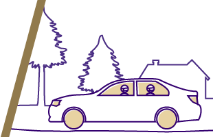 Healthy and safe commuting illustration of carpoolers driving through neighborhood with trees and a home