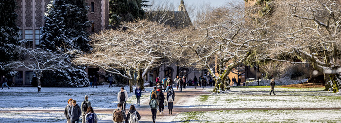 students walking through the quad in the snow