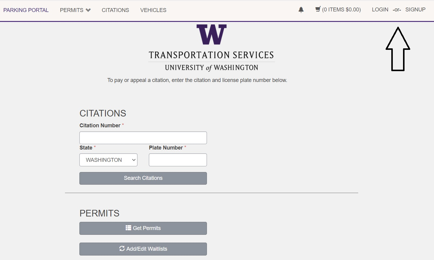 screenshot of Transportation Services online customer portal login with arrow pointing to login and sign up button