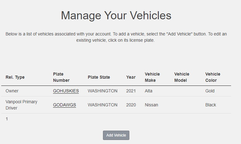 screenshot of Manage Your Vehicles screen with list of vehicles and information associated with account; add Vehicle button below list of account vehicles