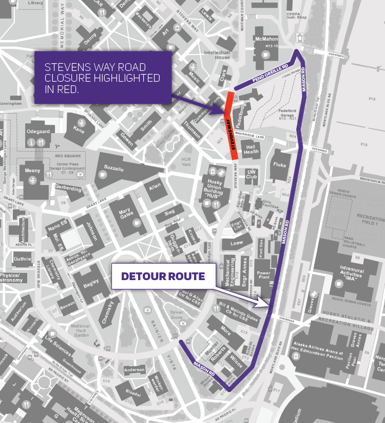 campus map showing red box over stevens way between communications building and mueller hall