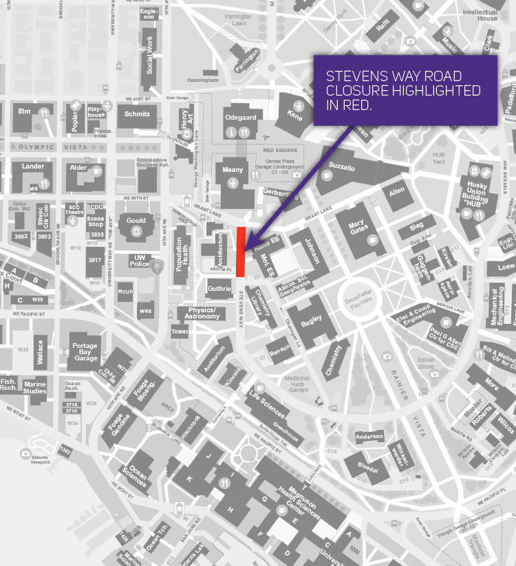 campus map showing stevens way closure closure segment spans from grant lane crossing to asotin crossing
