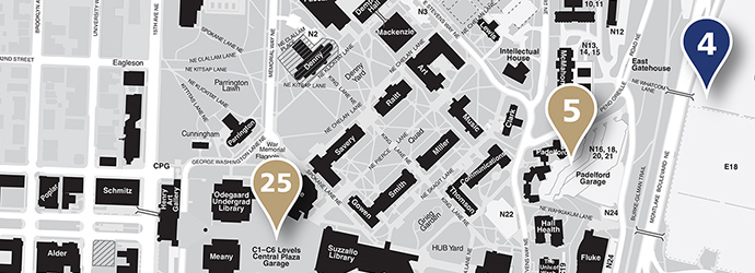 campus map with carpool parking locations