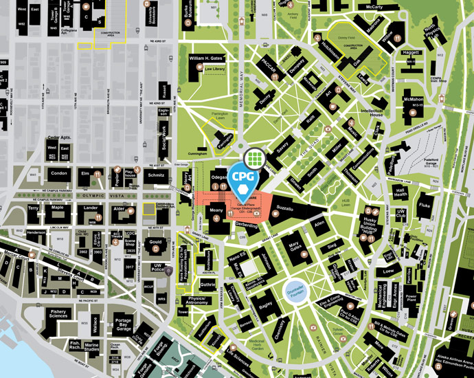 map of central campus with central plaza garage marked with a marker