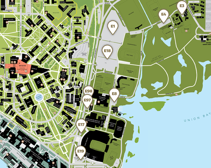 map of east campus parking lot locations