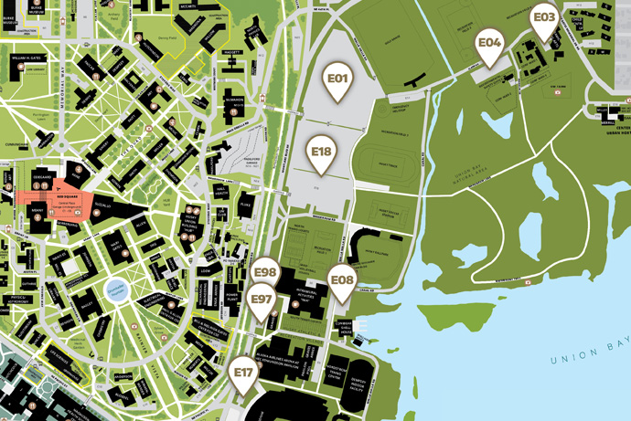 UW campus map of east campus self-serve parking lots