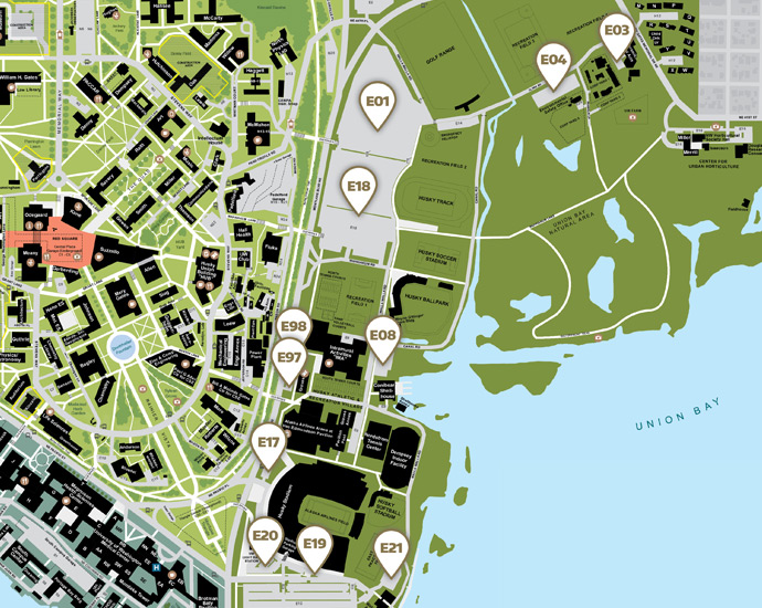 UW campus map of east campus self-service parking lots