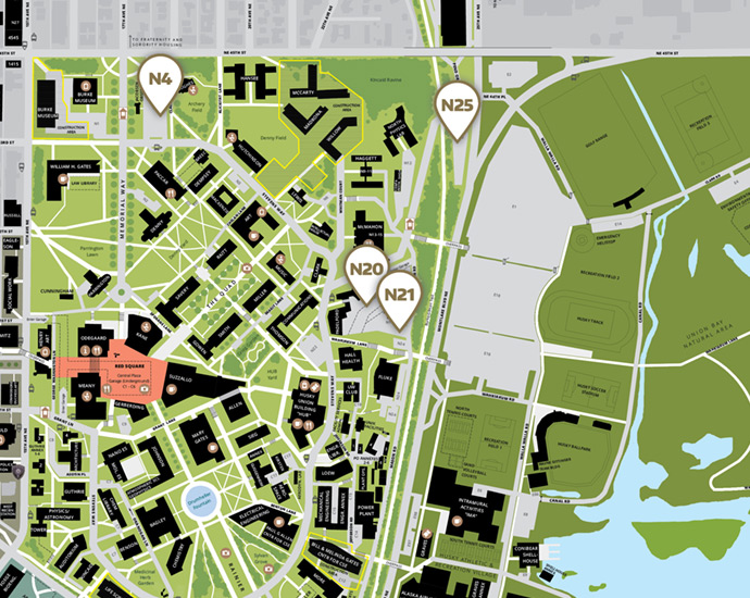 map of north campus parking lot locations