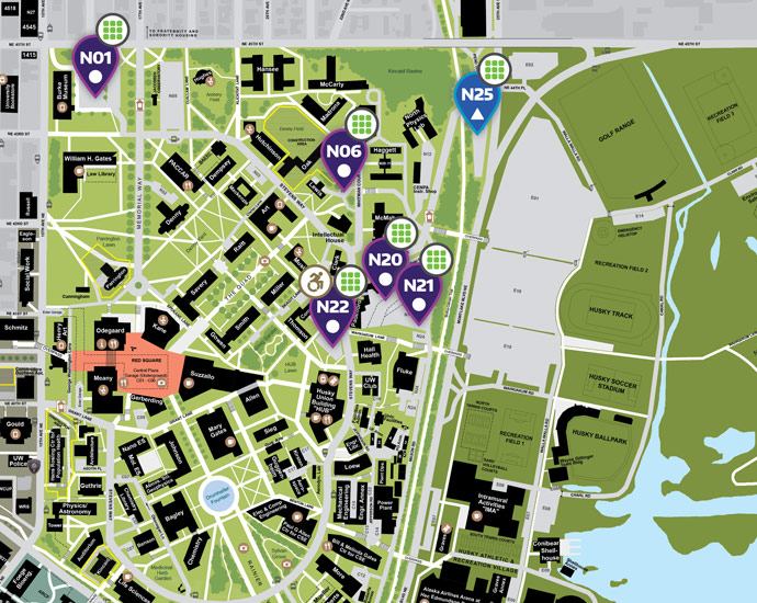 UW campus map of north campus self-serve parking lots