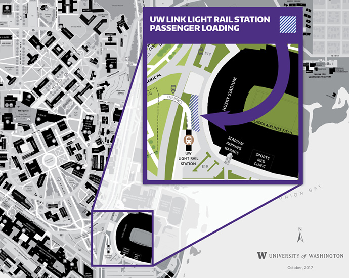 map of uw link light rail station passenger loading zone