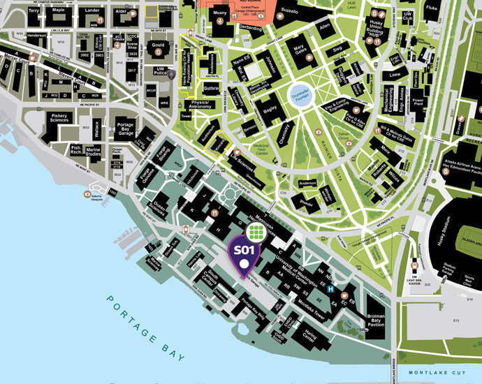 map showing s01 parking garage within the uw medical center complex