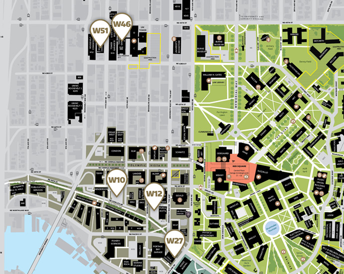 map of west campus parking lot locations