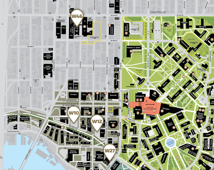 UW campus map of west campus self-service parking lots