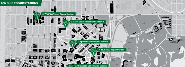 campus map with bike repair stations marked