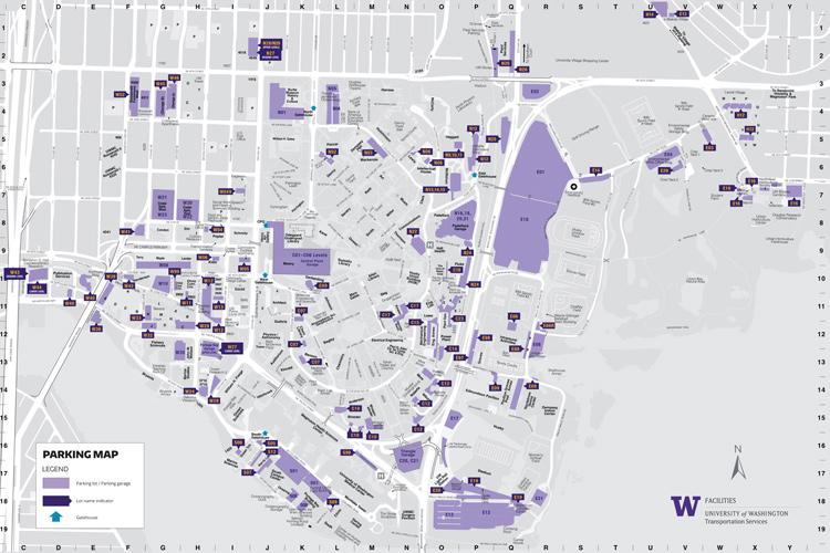 UW campus map of campus parking lots