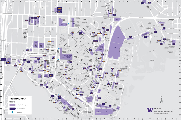 map of campus parking lots