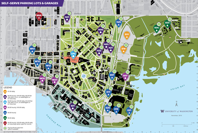 UW campus map of self-service parking lots