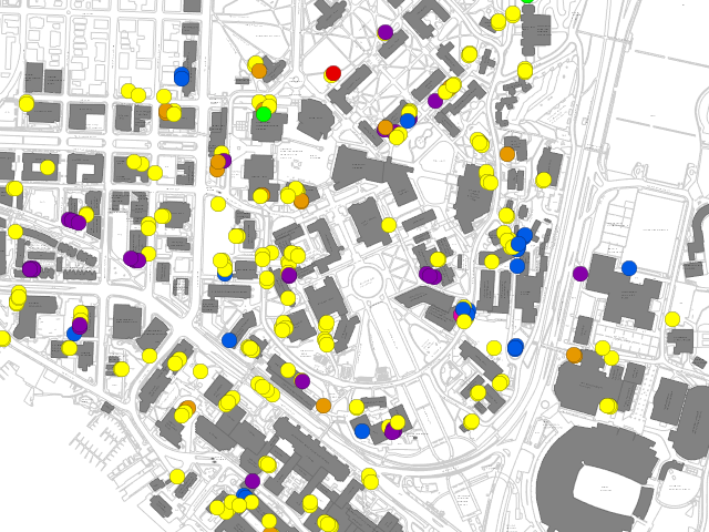 map of loading zones on campus