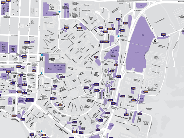 map of parking lots and garages