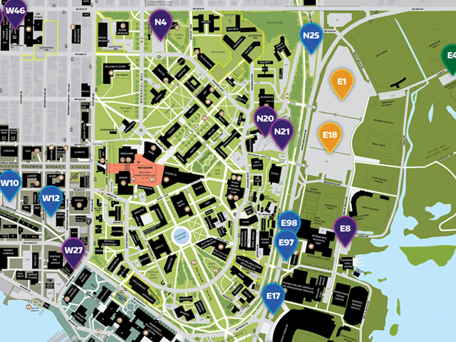 map of self-serve parking lots