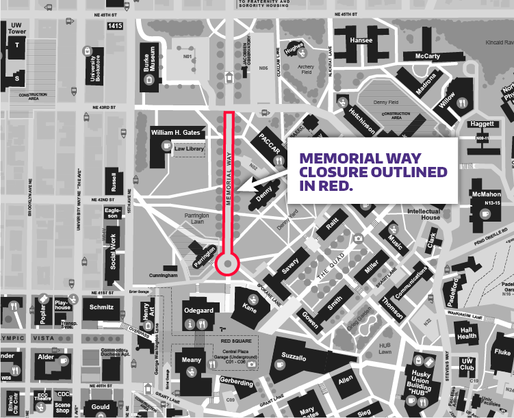 campus map showing red box around memorial way indicating construction closure area