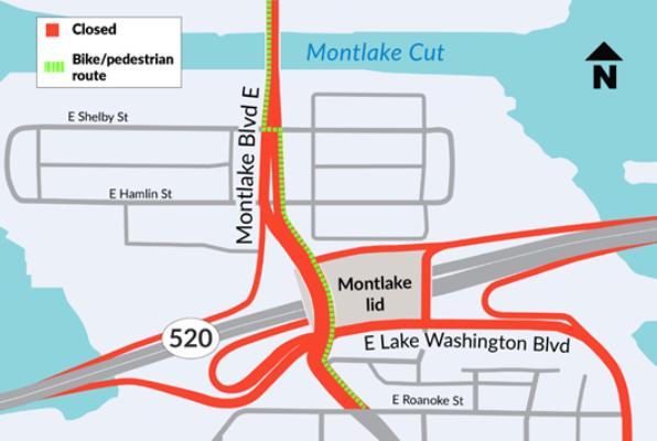 Map of Montlake bridge closure and bike and pedestrian routes