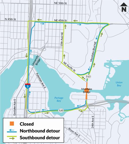 Graphic of Montlake Bridge closure detours