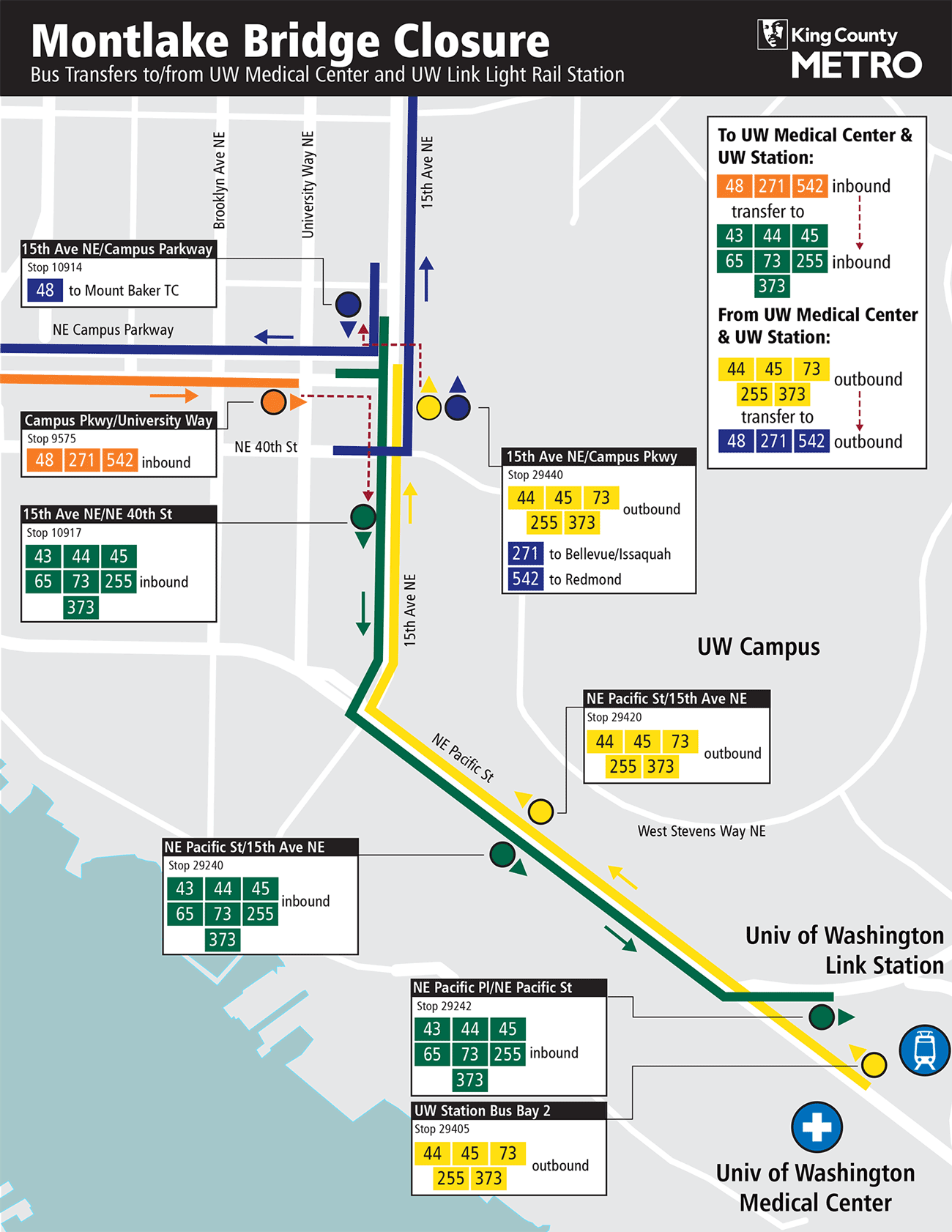 King County Metro reroute map showing bus transfers to/from the UW Medical Center and UW Link Light Rail station