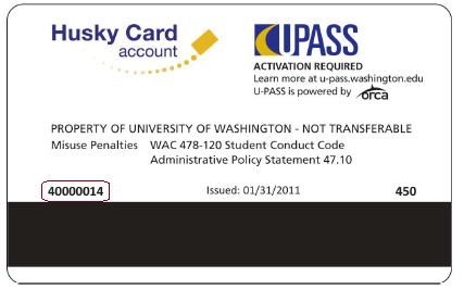 Example of ORCA card serial number on back of Husky Card, indicated with red outline