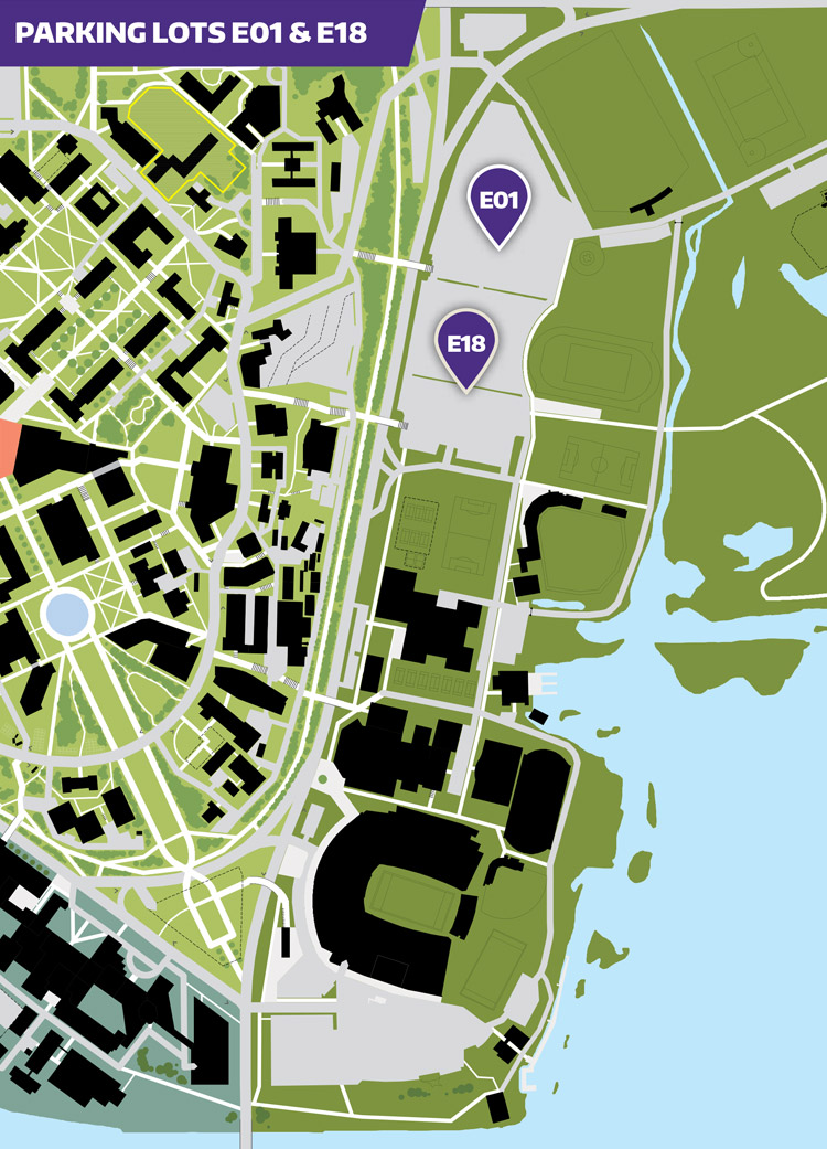 husky stadium area parking lots e01 and e18 marked on a map