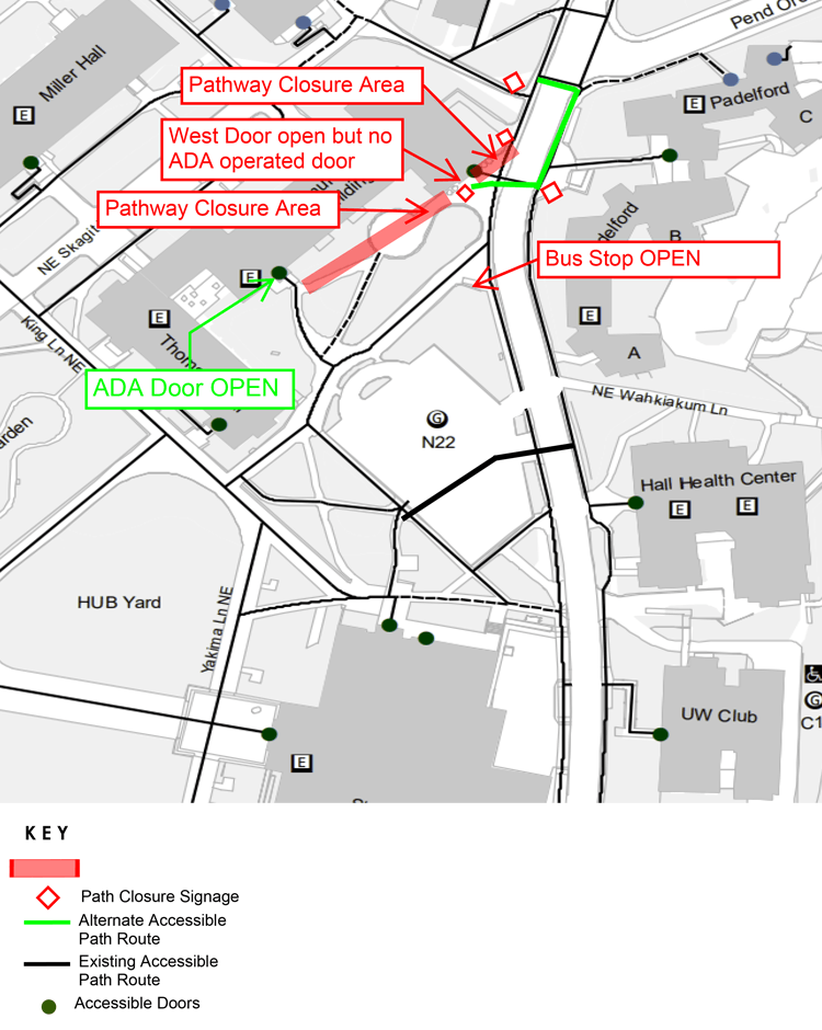 map of n22 pedestrian detour routing plan showing reroutes as of october 25 restoring bus stop to its permanent location