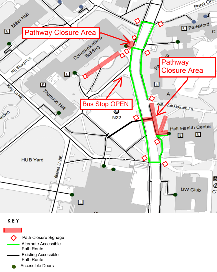 pedestrian detour route in front of hall heath in effect october 28