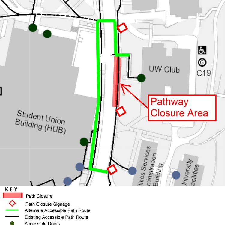 pedestrian detour route in front of uw club in effect october 28
