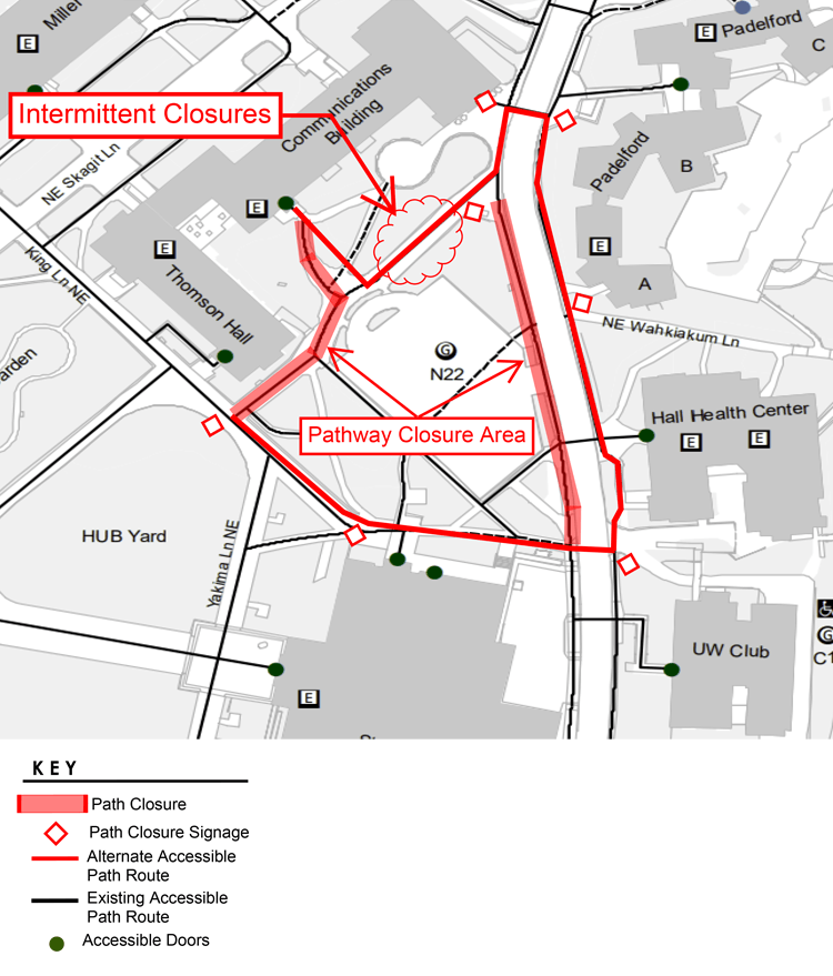 map of n22 pedestrian detour routing plan updated august 26